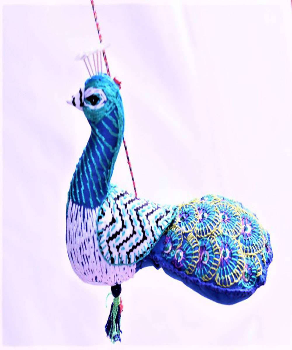 Blue peacock handmade cotton embroidery wall hanging