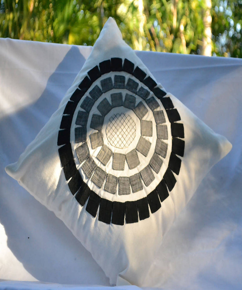 Black white sunshine lambani hand embroidery cotton cushion cover