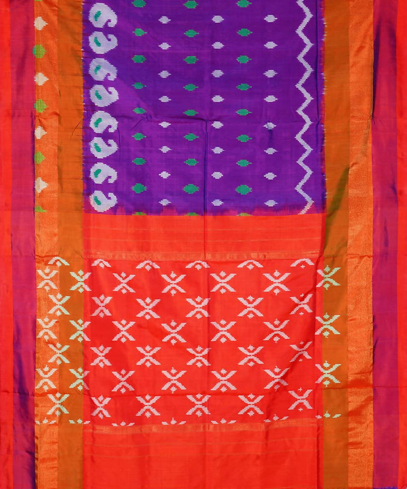 Purple Orange Handloom Pochampally Silk Saree