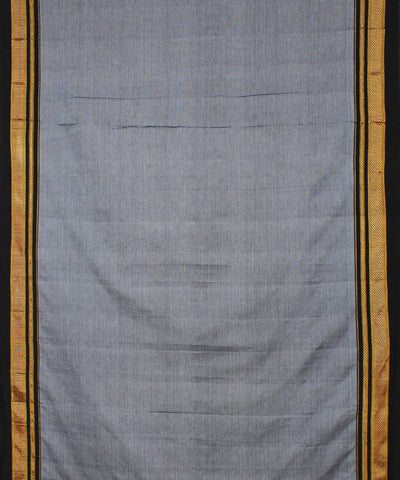 Grey Black Ilkal Handloom Cotton Saree