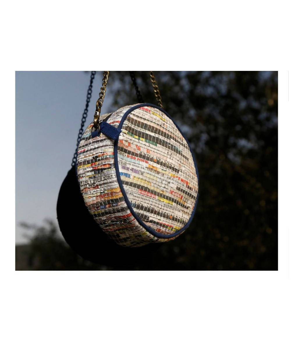Handmade Newspaper Cotton Circular Hand Bag