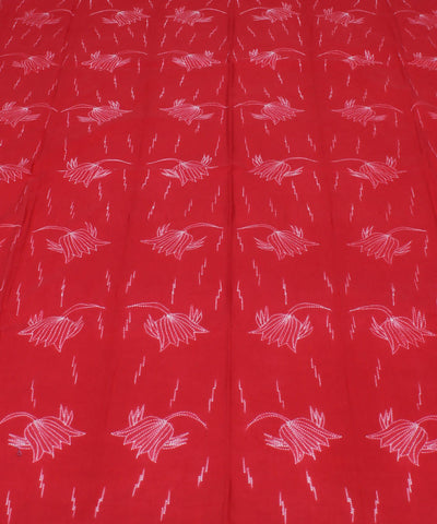 Shibori Printed Red Cotton Kurta Fabric