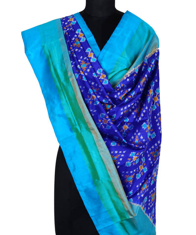 Royal Blue Handloom Ikkat Silk Dupatta