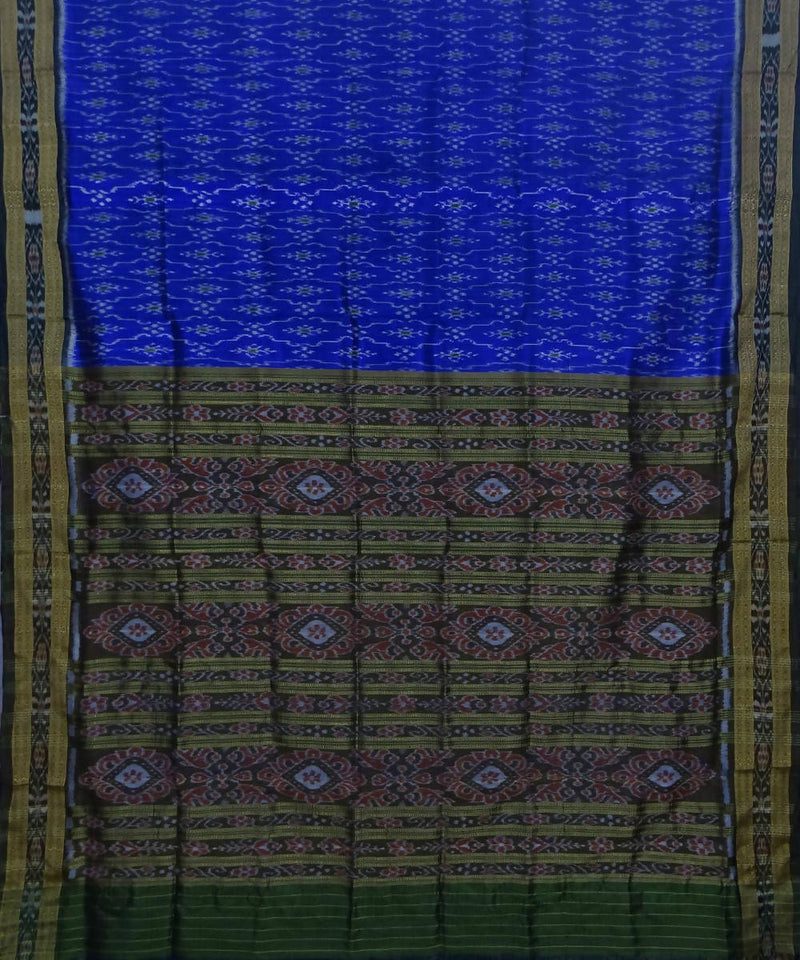 Khandua handwoven blue green silk saree