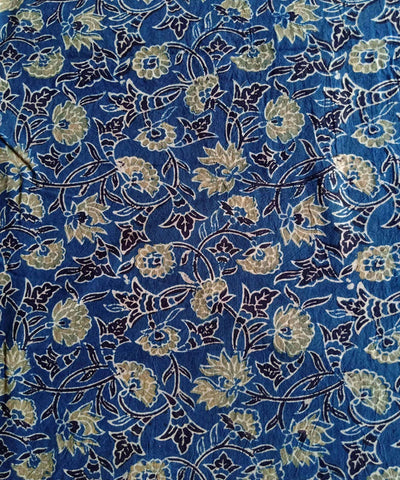 ajrakh blue yellow print handspun handwoven cotton kurta fabric