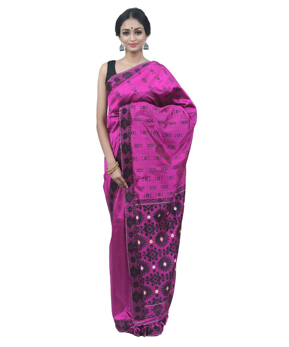 Magenta handwoven assam silk saree