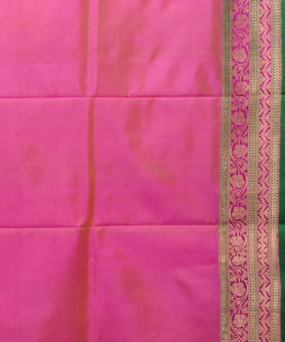 Pink green handwoven silk banarasi saree