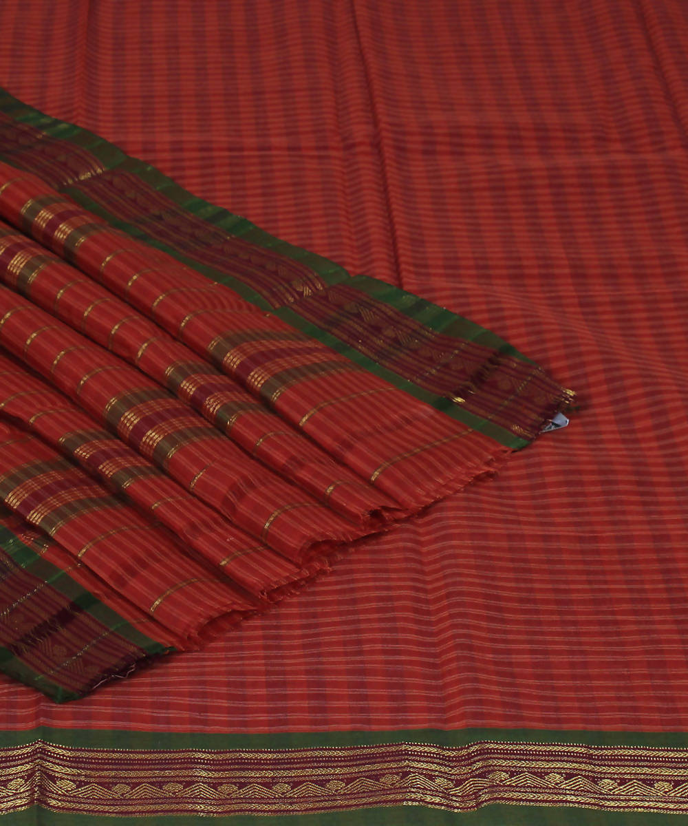 Handloom Brown Check Narayanpet Cotton Saree