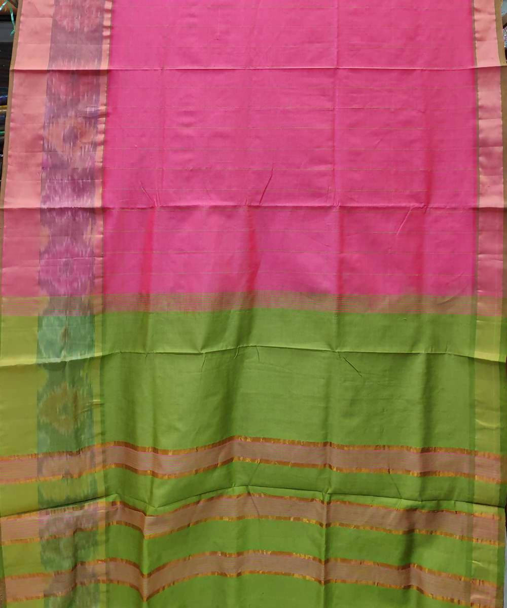 Light Pink and light green Handwoven Venkatagiri Cotton silk saree