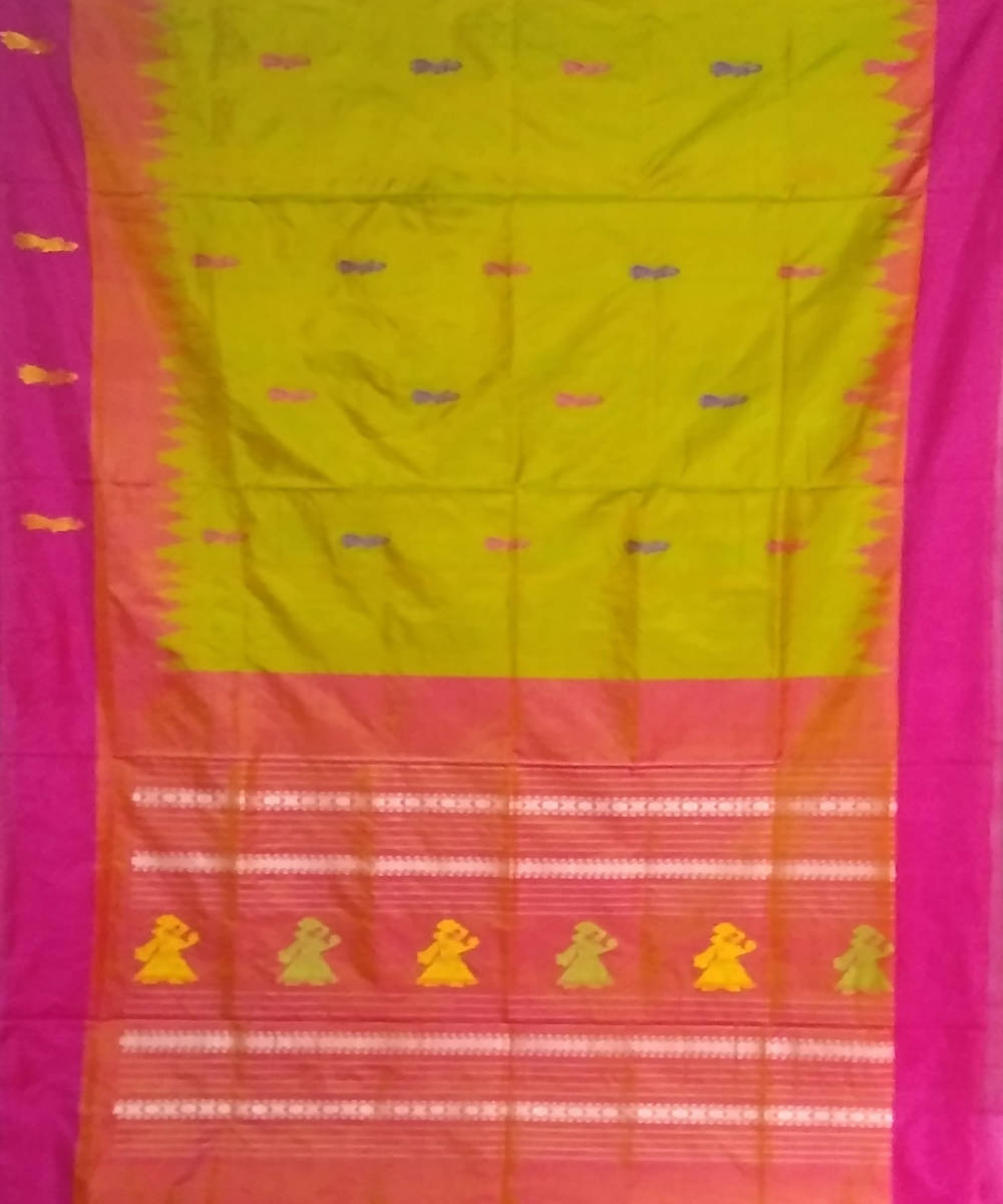 yellow pink handwoven gollabhama silk saree