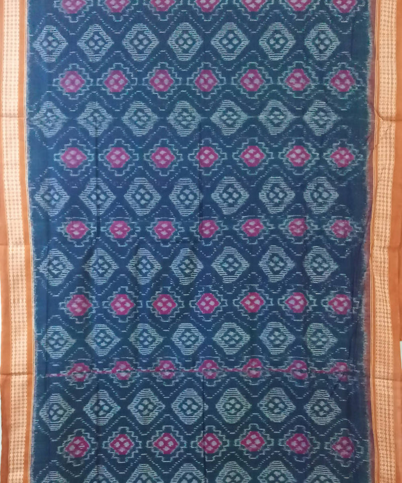 Blue and Violet Sambalpuri Cotton Ikat Saree