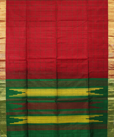 Maroon Checks Khadi Handloom Silk Saree