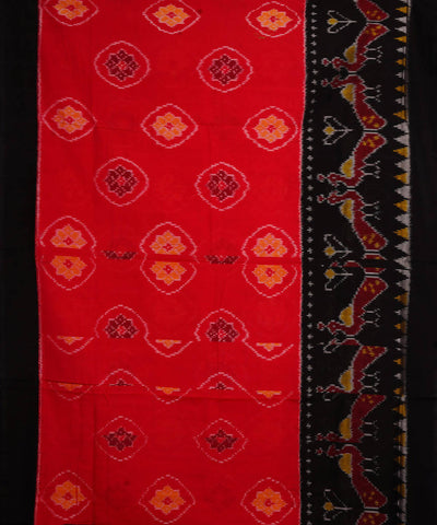 Red Black Handloom Pochampally Ikkat Saree