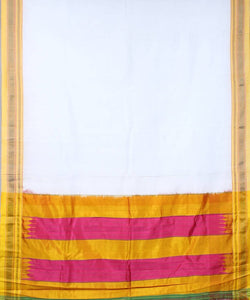 White ilkal handwoven chikki paras border saree