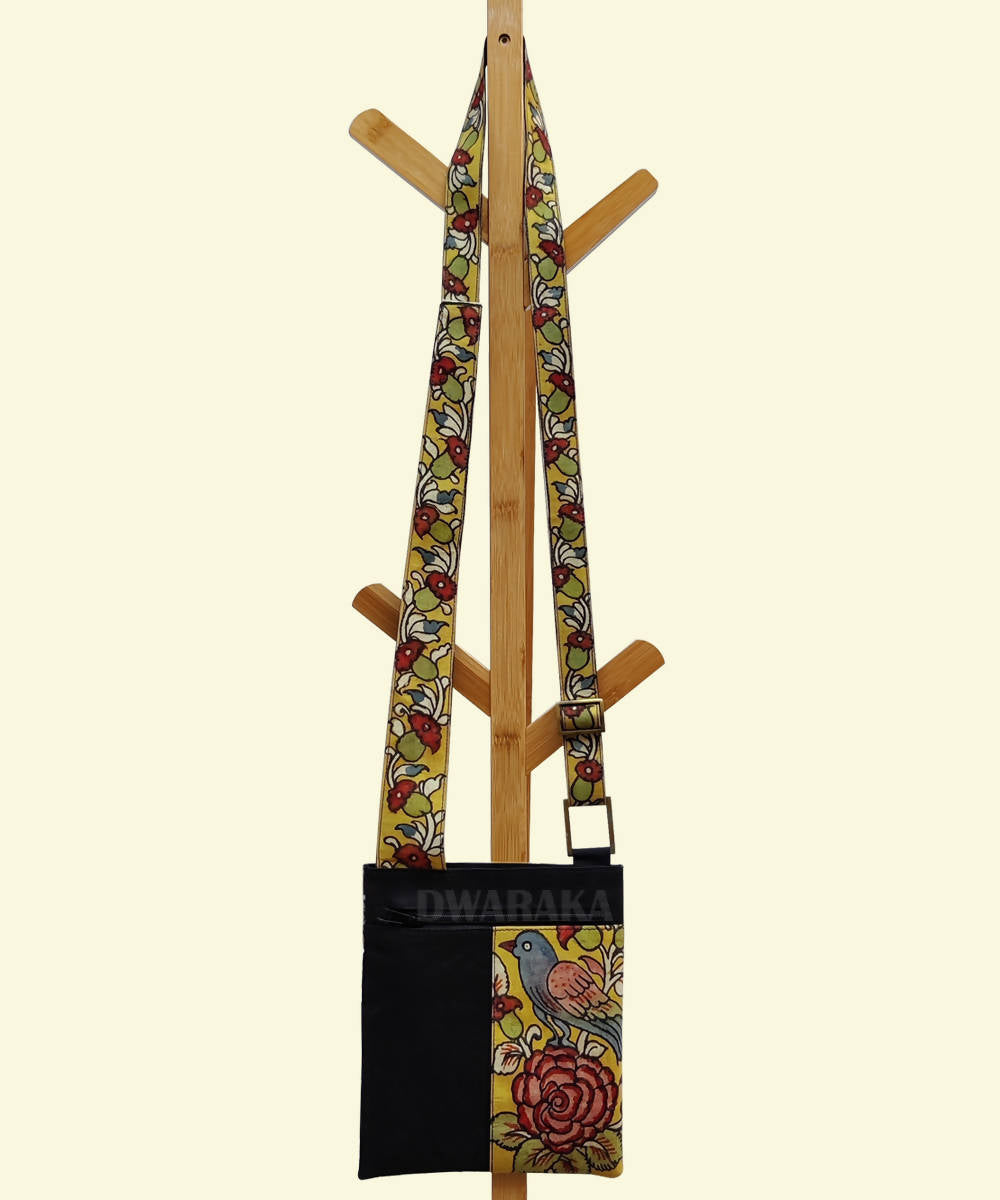 Black with hand painted kalamkari sling bag