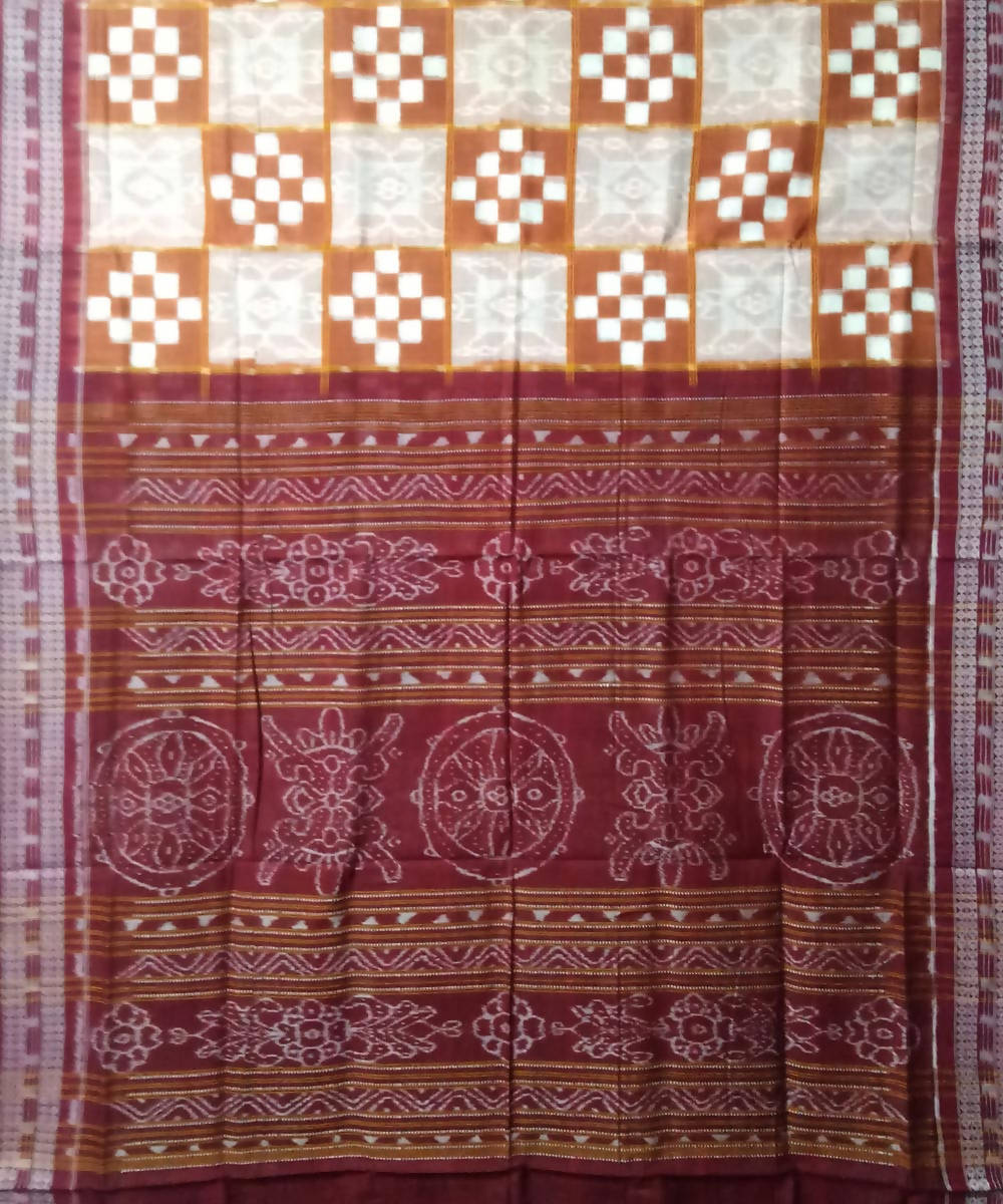 Brown White Maroon Sambalpuri Handloom Cotton Ikat Saree