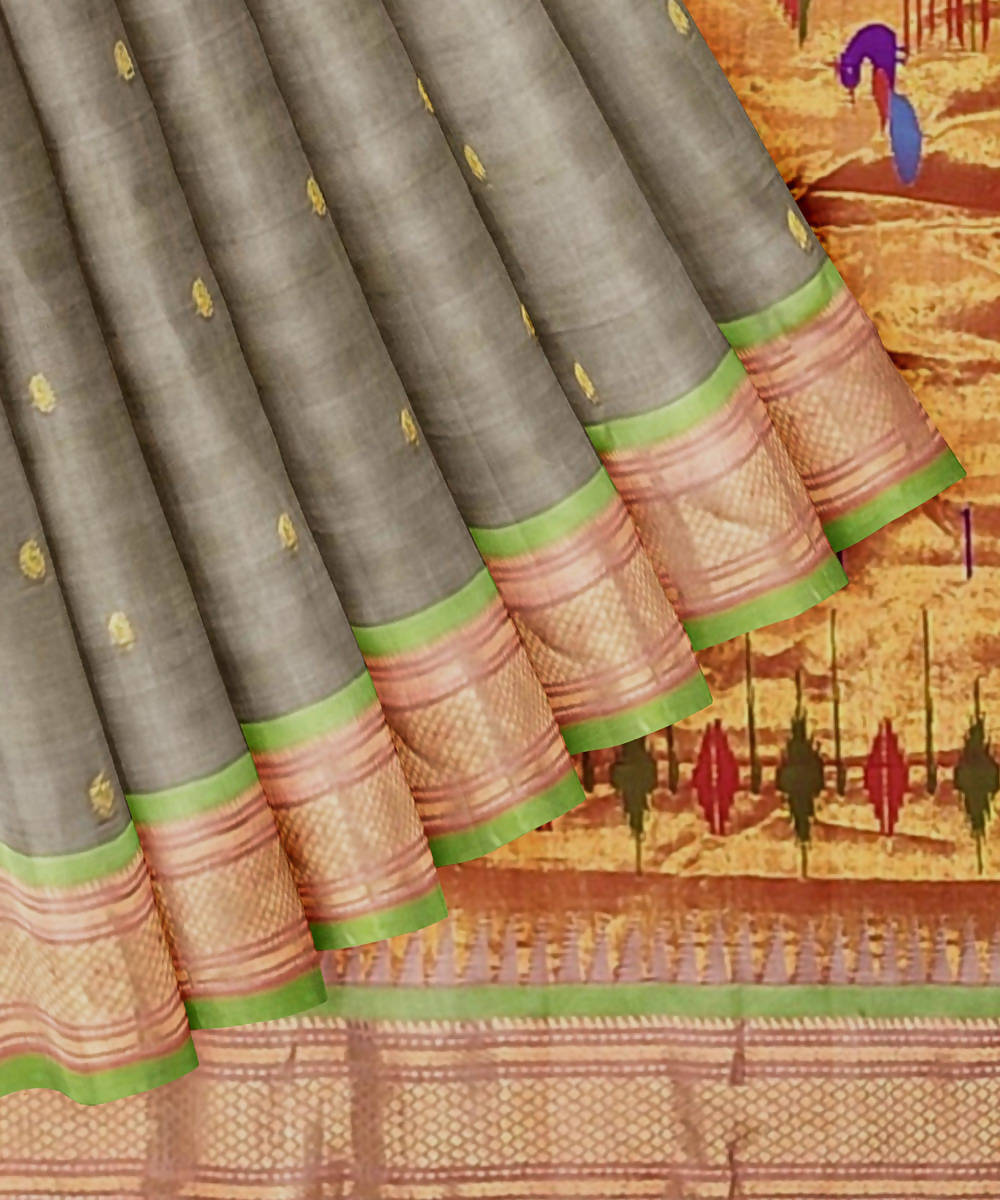 Grey Handloom Paithani Silk Saree
