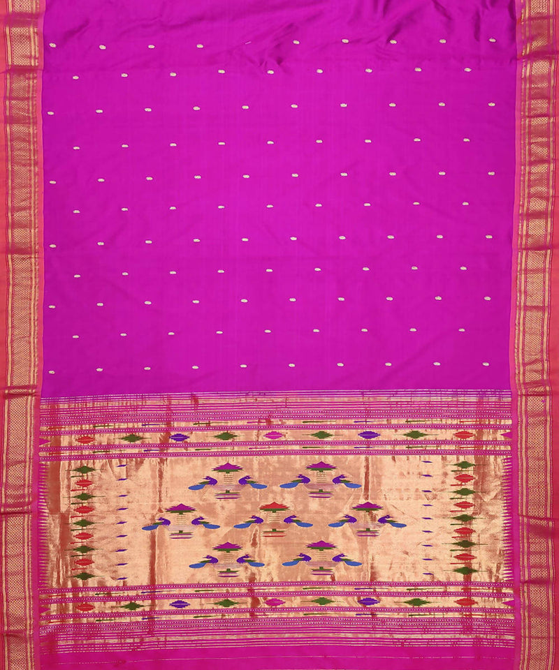 handwoven paithani Purple silk saree