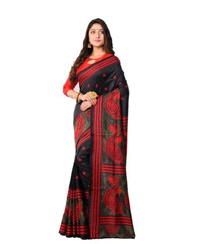 Bengal Handloom Kantha Stitch Black Saree