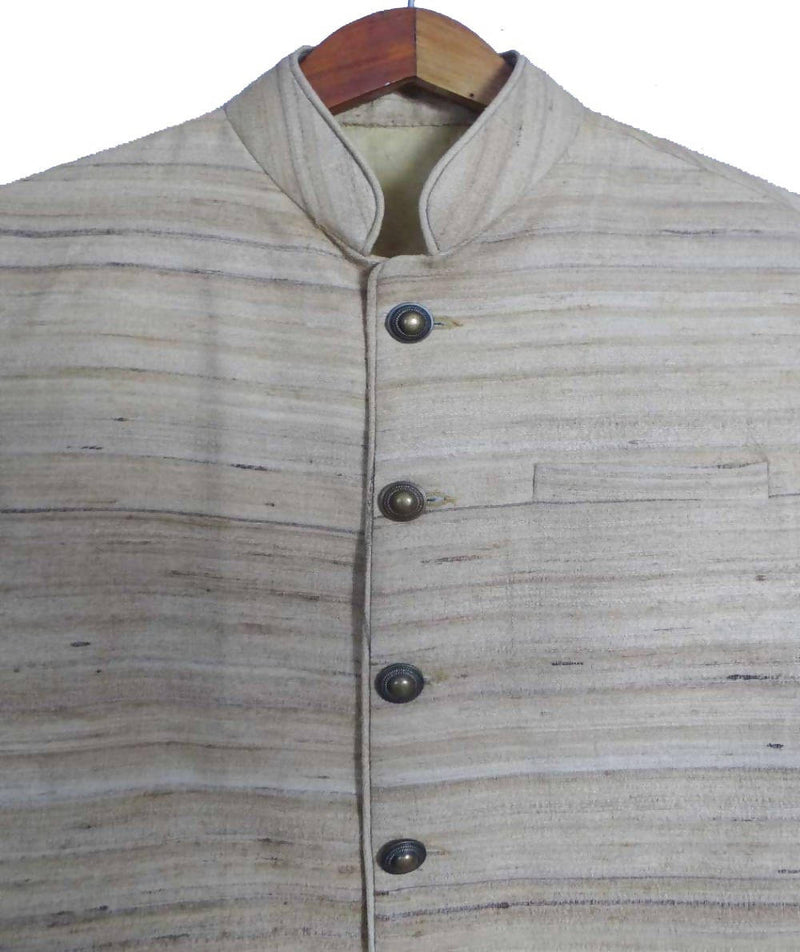 Offwhite Handwoven Sleeveless Tussar Jacket