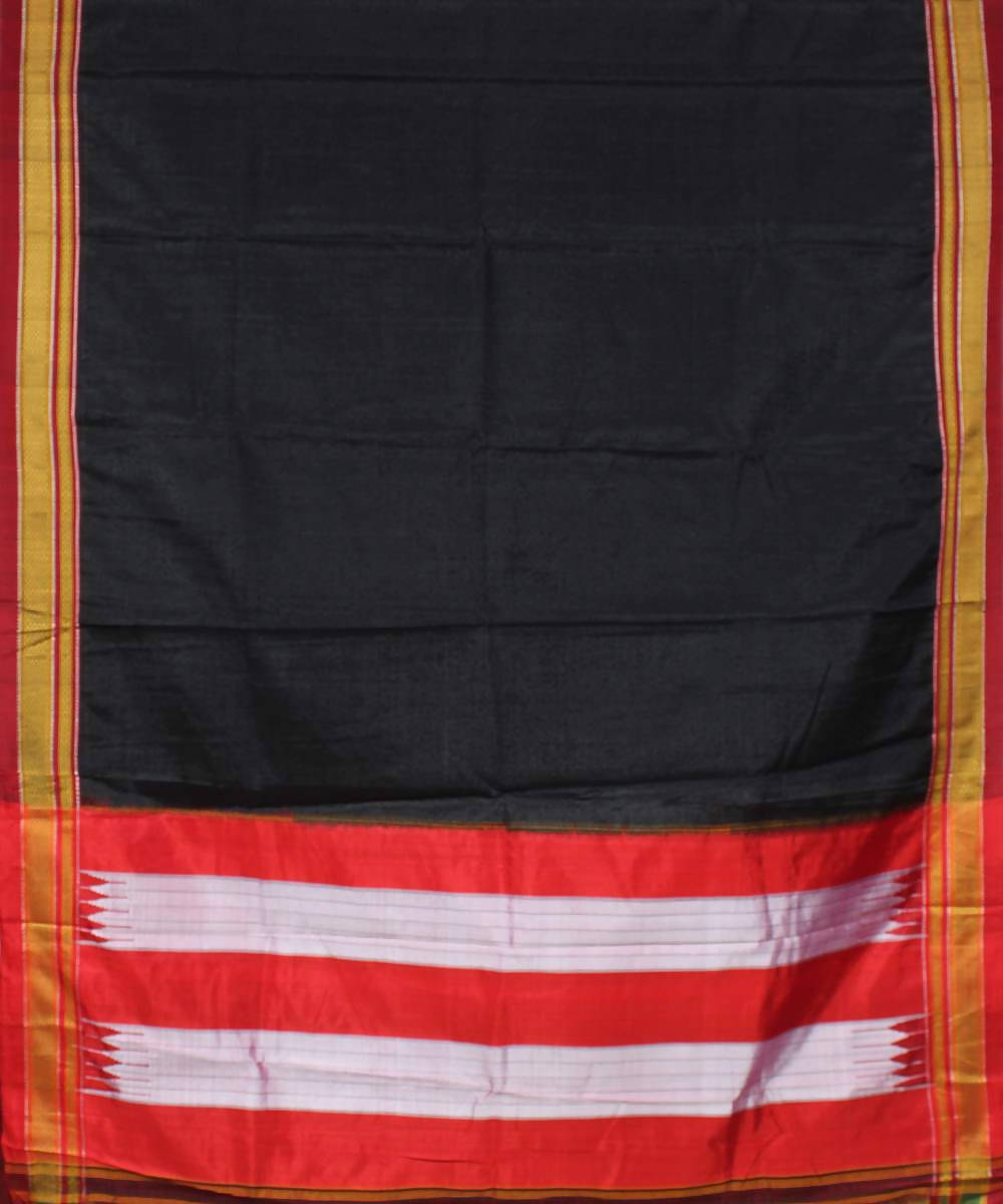 black ilkal handwoven chikki paras border saree