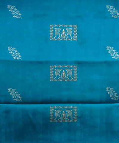 Dark Turquoise Handloom Silk Dress Material
