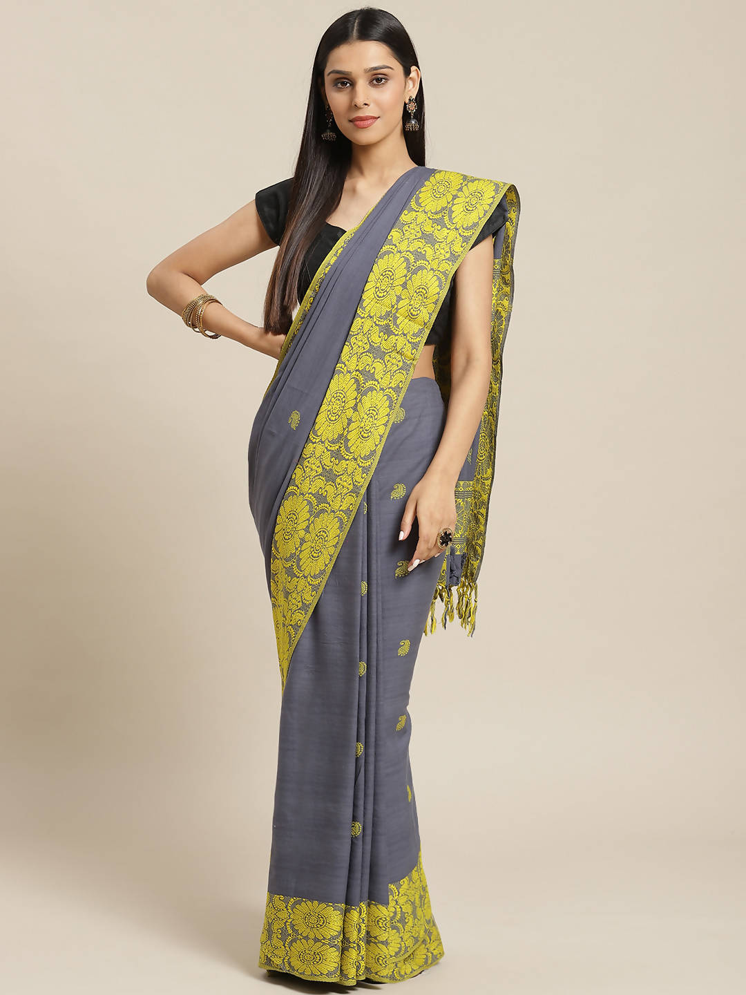 Biswa bangla handwoven grey & yellow dokhna cotton saree