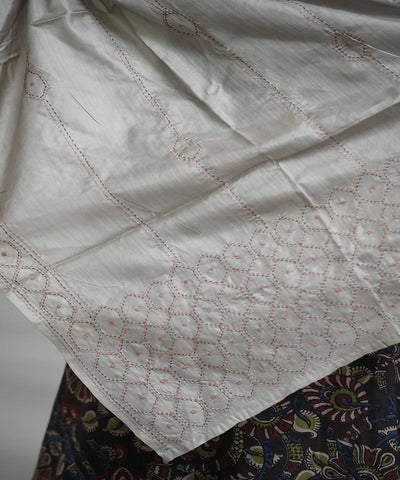 Grey silk tanka work cotton stole