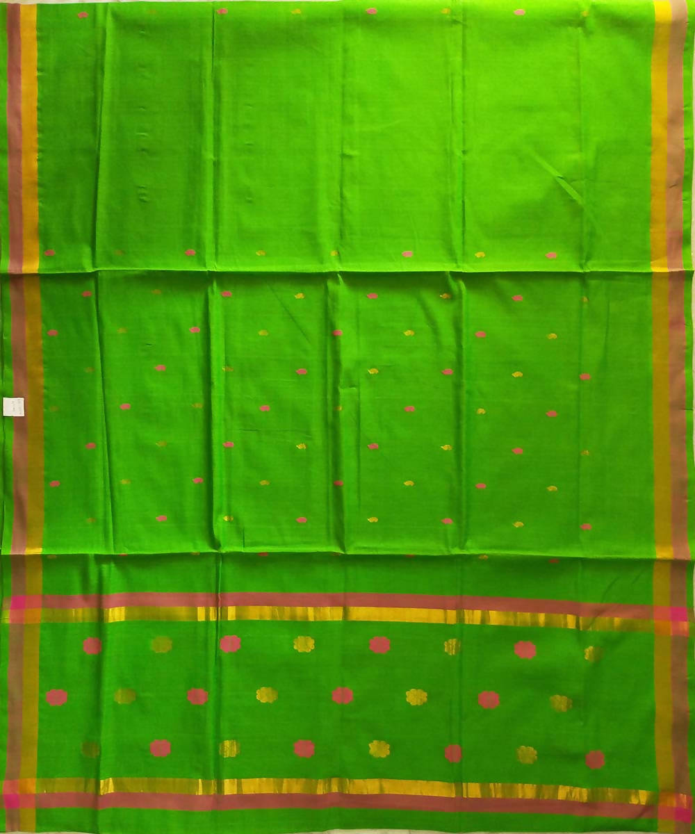 Venkatagiri handwoven parrot green cotton saree