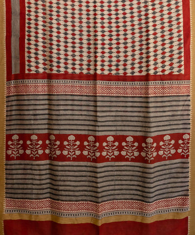 Multicolour hand block printed chanderi cotton silk ghiccha saree
