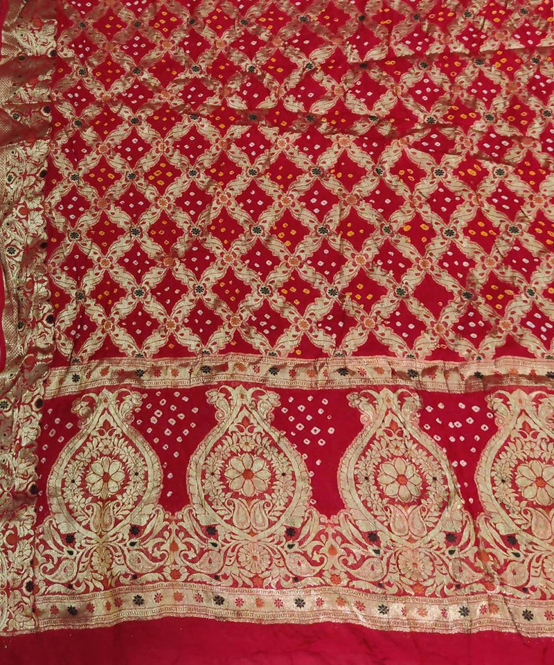Handprinted Red tie dye Bandhani Saree