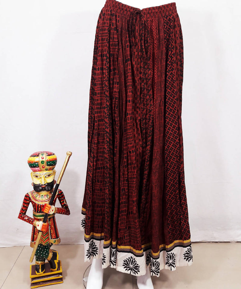 Red brown hand block printed cotton crinkled skirt