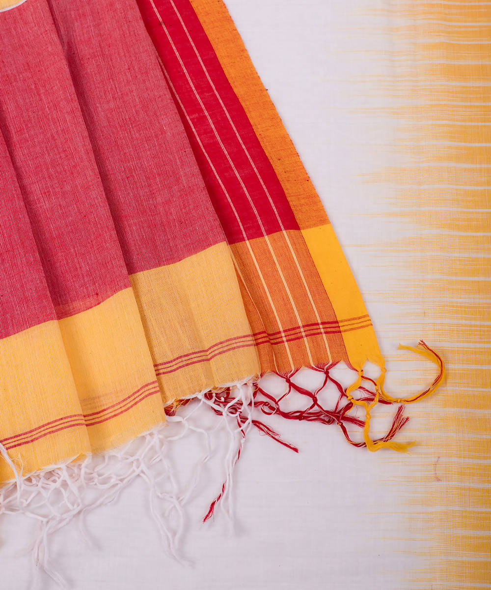 White handwoven cotton tie dye saree