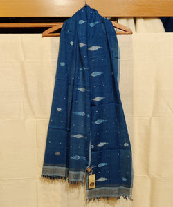 Indigo Blue Jamdani Handwoven Cotton Stole