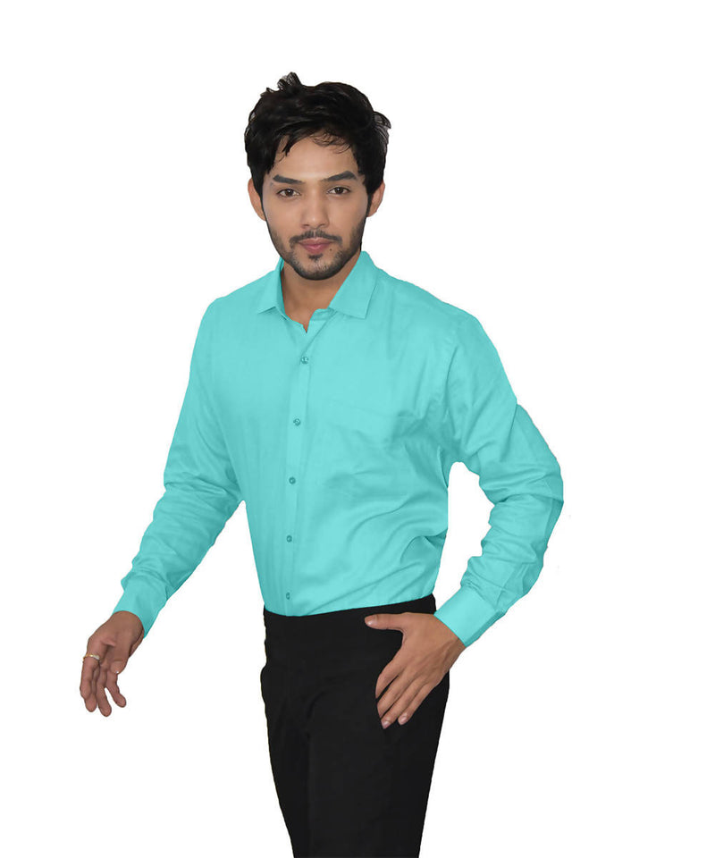 Cyan color handspun handwoven cotton shirt