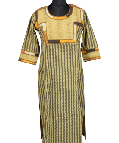Beige and Yellow Striped Lambani Hand Embroidery Cotton Kurta