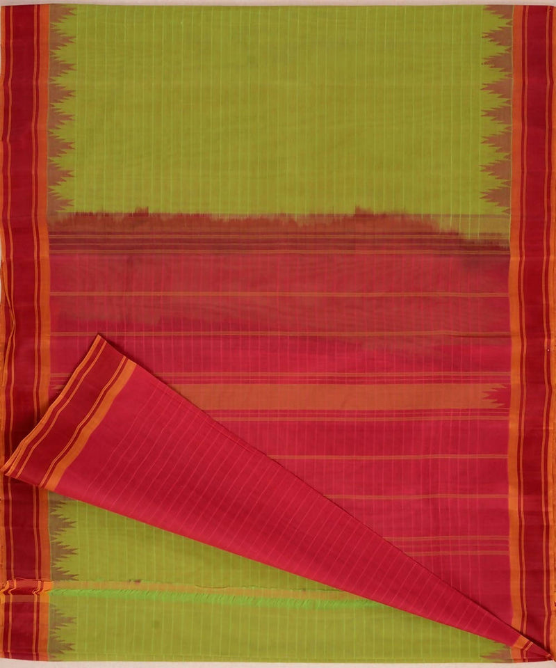Light green handloom kanchi cotton saree dark red silk korvai temple border