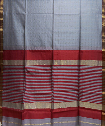 Maheshwari Flint Grey Handloom Cotton Silk Saree