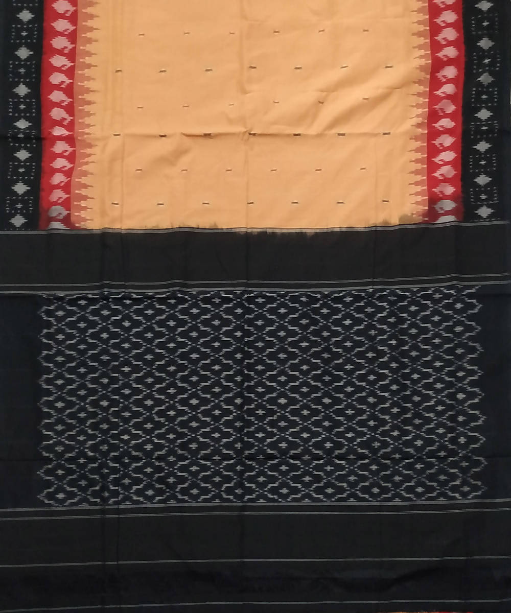 Beige Black Pochampally Ikkat Handwoven Cotton Saree