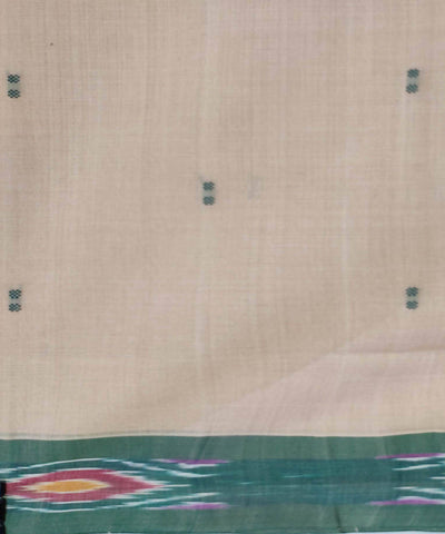 Kora white and Green Handwoven Tie and dye cotton Butta Work Saree