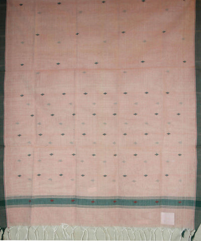 Light Peach Handspun Handwoven Jamdani Cotton Dupatta