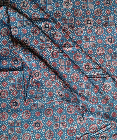 indigo blue ajrakh block print handspun handloom cotton kurta fabric
