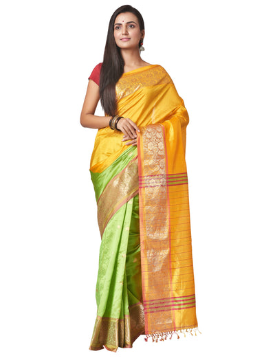 Biswa Bangla Handwoven Silk Saree - Yellow and Green