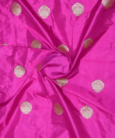 Banarasi Purple Pink Handloom Silk Fabric