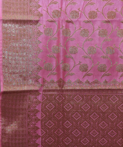 Banarasi Taffy Pink Handloom Silk Saree