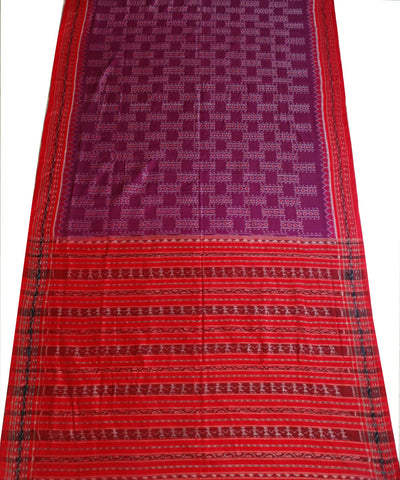Unique Blue-Violet And Dark Red tie And dye Sambalpuri ikat cotton Saree