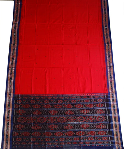 Exclusive Dark Red And Ink Blue Traditional Ikat Tie And Die Cotton Saree