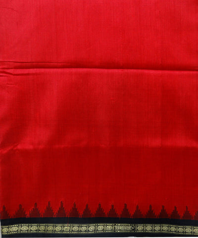 Dark Red Black Phoda Kumbha Bomkai Silk Saree