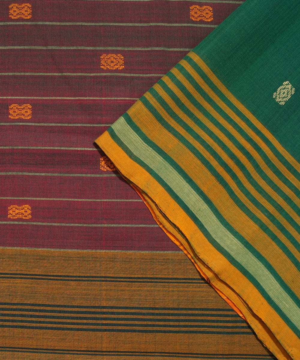 Aruppukottai Handloom Cotton Dark Green Saree