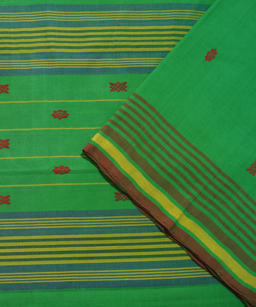 Aruppukottai Handloom Dark Green Cotton Saree